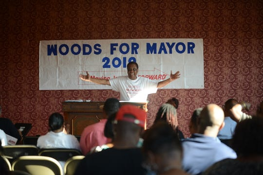 The Jerry Woods campaign holds a Team Woods meeting at its headquarters on May 27 in downtown Jackson, Tenn.