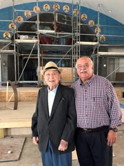Sirio Tonelli with John Peroulas in September 2017 on a visit to St. George Greek Orthodox Church. Tonelli is the designer the church's famous mosaics.