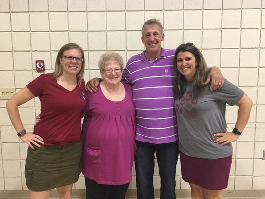 """Pictured at the luncheon were Pond Gap assistant principal Trina Bruns, Dorothy Moyers, 2019 retiree; Celso """"Coach C"""" Ferreira-Alvez, 2019 retiree; and principal Shelly McGill."""