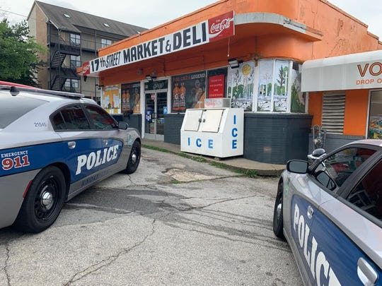 Police and firefighters responded to a report of a man trapped inside the ventilation system at the 17th Street Market and Deli in Fort Sanders on Thursday morning, June 6, 2019.