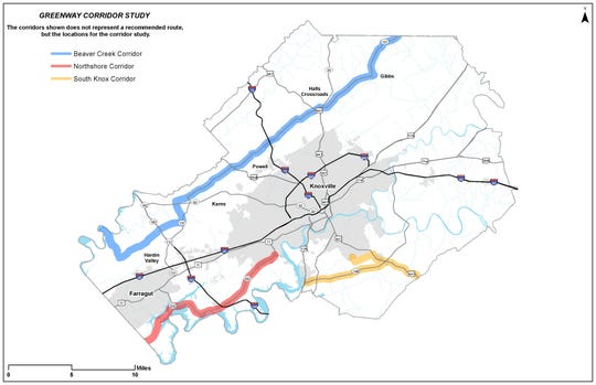 Map depicting the four greenway corridors proposed by Knox County.