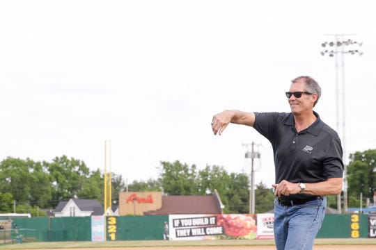 West Lafayette Mayor John Dennis, here throwing out a first pitch at an Aviators game, in the past week questioned his own Republican Party for slating candidates for the November ballot for West Lafayette City Council after he suggested the party shouldn't do it.