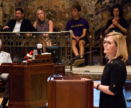 Rep. Nancy Landry, R-Lafayette, speaking last year with LSU freshman Max Gruver's parents in the background, has led the fight to tighten hazing laws.