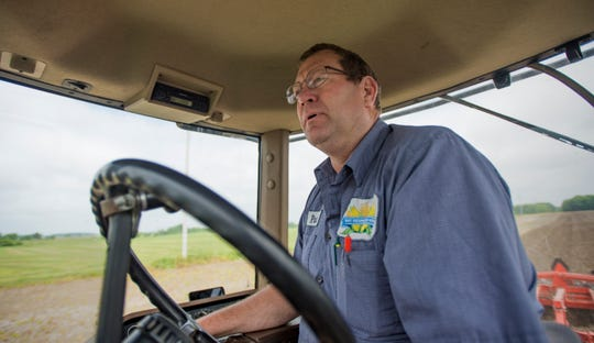 Fowler farmer Pat Feldpausch preps a field on Parks Rd. in Pewamo, Thursday, June 6, 2019, and hoped to plant corn there on Friday. Because of rain and wet fields, Feldpausch has only recently planted 300 acres of corn and has another 2,500 acres to plant.