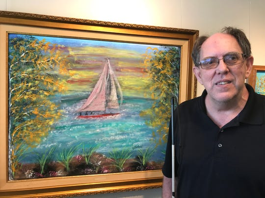 David Penfold of East Lansing spent 15 years as the head gardener at The Grand Hotel on Mackinac Island. In 2011 he lost his sight. Then four years ago he decided to put all the beauty he'd seen on the island on canvas, and started painting. His work is on display at the Hannah Community Center Public Art Gallery this month.
