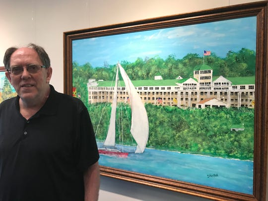 "East Lansing artist David Penfold's art show at the Hannah Community Center Public Art Gallery is called ""Mackinac Island: Beauty from the Heart."" Penfold is legally blind but paints what he's seen from memory and photos. He was head gardener at The Grand Hotel for 15 years."