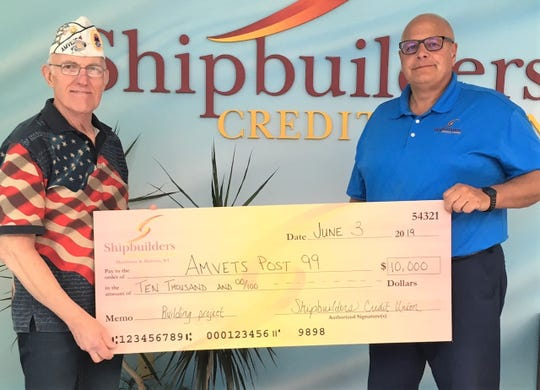 Shipbuilders Credit Union recently supported Manitowoc AMVETS Post 99 with a $10,000 donation toward its campaign to construct a more accessible and functional facility to serve the needs of local veterans. Pictured are Dennis Scherer (left), U.S. Marine Corps veteran, with Mike Steimle, Shipbuilders Credit Union president.