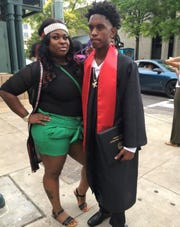 Ebony Morris poses with Ja'Rico Cooper during his high school graduation in 2018. Cooper was shot and killed on May 28, one of 87 homicides in Memphis so far in 2019, according to The Commercial Appeal's homicide tracker.