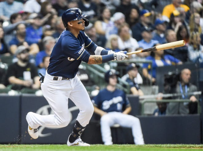 Orlando Arcia of the Brewers rips an RBI double off the wall in center field against the Marlins in the second inning.