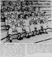 The 1955 American Legion Junior baseball team coached by Red Sims (back row, far right) played in the state finals.