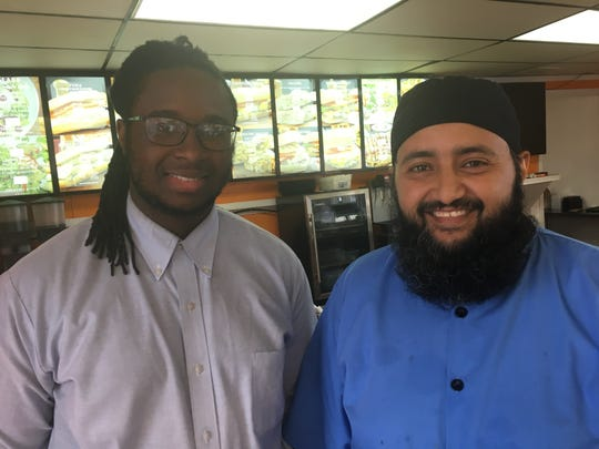Manager Philando Green, left, and owner Mustafa Ali recently opened Alloz Express in downtown Montgomery.