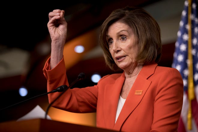 House Speaker Nancy Pelosi speaks to reporters June 5, 2019, at the Capitol in Washington. The political clock is a significant factor in whether majority House Democrats launch any impeachment proceedings against President Donald Trump. There's increasing pressure on Pelosi to at least start an impeachment inquiry into whether Trump obstructed special counsel Robert Mueller's investigation.