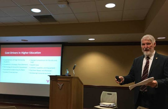 Treasurer Bernie Hannon presents Ball State University's proposed 1.64 percent tuition increase at the student center on Wednesday.