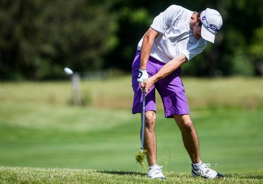 Central's Nick Phillips competes in the boys golf regional at The Players Club in Yorktown Thursday, June 6, 2019.