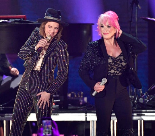 Brandi Carlile and Tanya Tucker perform during the CMT Music Awards on June 5, 2019, at Bridgestone Arena in Nashville.