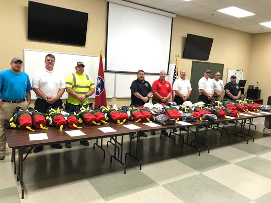 All fire departments in Dickson County, paid and volunteer, met last week at the county's Emergency Management Agency building to receive water rescue equipment EMA staff purchased through a federal Homeland Security grant. The equipment was valued at about $15,000.
