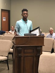 Jameson Wharton give a speech before the Parks Board.
