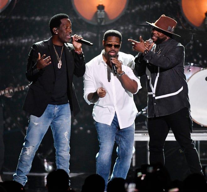 Boyz II Men performs during the 2019 CMT Music Awards at Bridgestone Arena Wednesday, June 5, 2019, in Nashville, Tenn.