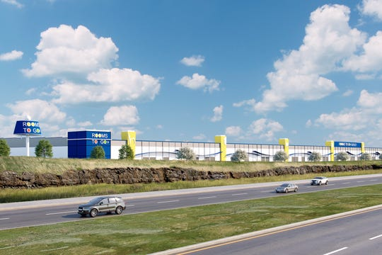 A rendering of a new Rooms To Go warehouse off Interstate 840 that is expected to bring approximately 200 jobs.