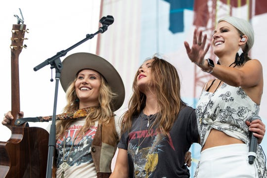Runaway June thanks the crowd following their performance during the 2019 CMA Fest at the Chevy Riverfront Stage in Nashville, Tenn., Thursday, June 6, 2019.