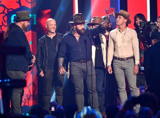 Zac Brown Band accepts the award for Group Video of the Year during the 2019 CMT Music Awards at Bridgestone Arena Wednesday, June 5, 2019, in Nashville, Tenn.