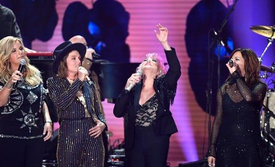 Trisha Yearwood, Brandi Carlile, Tanya Tucker and Martina McBride perform during the 2019 CMT Music Awards at Bridgestone Arena Wednesday, June 5, 2019, in Nashville, Tenn.