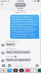 Canterbury coach Frank Turco wishes his former players the best prior to their meeting this upcoming weekend. Giovanni DiGiacomo is representing LSU, and Carter Smith and Cooper Swanson are representing the Seminoles.