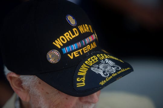 World War II veteran Bernard Best participates in the 75th Anniversary D-Day and Battle of Normandy commemorative ceremony, Thursday, June 6, 2019, at the Naples Depot Museum.