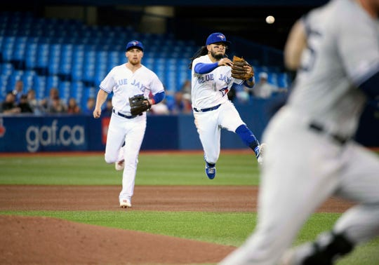 Jun 5, 2019; Toronto, Ontario, CAN; Toronto Blue Jays shortstop Freddy Galvis (16) throws a ball to first base for an out against the New York Yankees during the fourth inning  at Rogers Centre.
