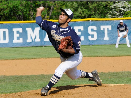 Indian Hills beats St. Mary, 3-1, in baseball during Bergen County tournament quarterfinal on May 17, 2014 at NV/Demarest. Indian Hills' Serafino Brito (32) pitches in relief.