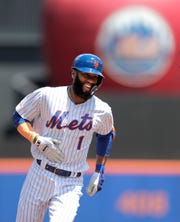 New York Mets' Amed Rosario runs the bases after hitting a solo home run off San Francisco Giants starting pitcher Shaun Anderson during the first inning of a game Thursday, June 6, 2019, in New York.