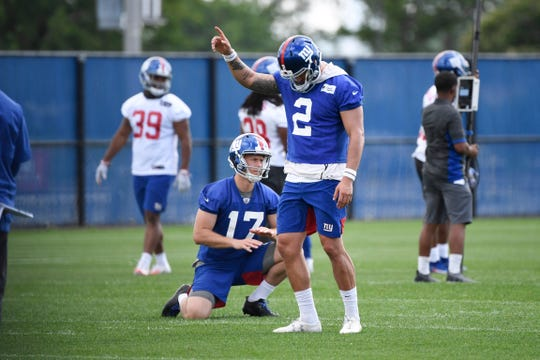 New York Giants kicker Aldrick Rosas (2) on the field during Day 3 of Giants minicamp on Thursday, June 6, 2019, in East Rutherford.