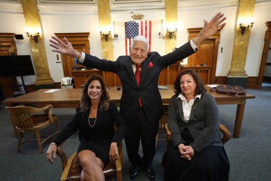 96 year old Frank Lucianna with his follow-in-his foot-steps daughters, fellow attorneys, Nancy and Diane in the Bergen County Courthouse on May 31, 2019.