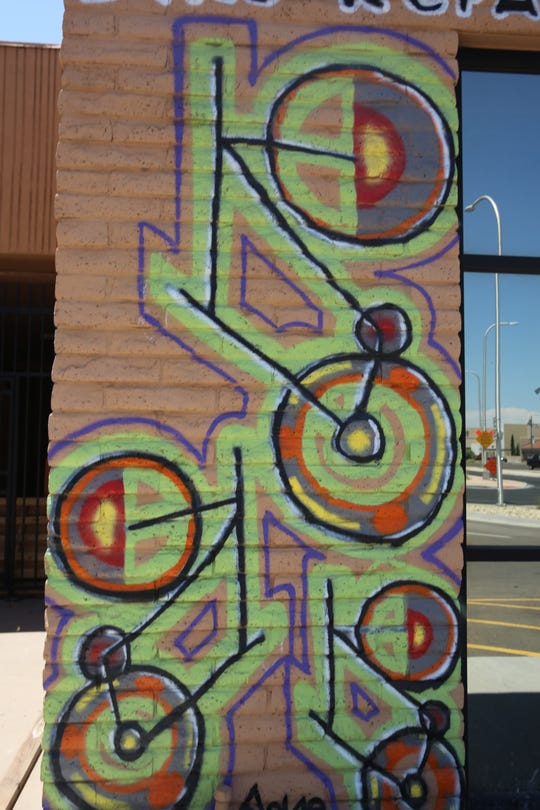 A bike mural just outside The Hub bike repair shop located in the Cruces Creatives building.