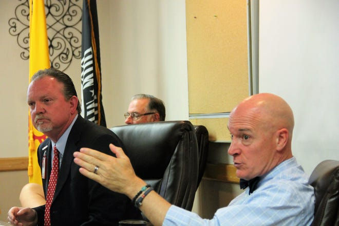 Raymond G. Murphy VA Medical Center Director Andrew Welch and El Paso VA Health Care System Director Michael L. Amaral discuss changes to veterans' benefits from the MISSION Act at a Lincoln/Otero Counties Veterans Leadership Council meeting Wednesday.