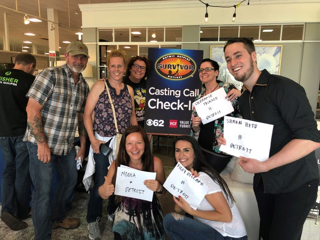 Standing, from left: William and Joy Harbin of Baldwin, Patricia Lulich of Grand Rapids, Stephanie Pringle of Fowlerville and Shaun Hetu of Novi. Front row, Moona Pringle of Fowlerville and Riley Dillard of Davison. All tried out for a chance to be cast on an upcoming season of Survivor.