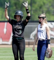 Oshkosh North's Courtney Day (3) reacts after hitting a double against Nicolet during a WIAA Division 1 state quarterfinal Thursday at Goodman Softball Complex in Madison.