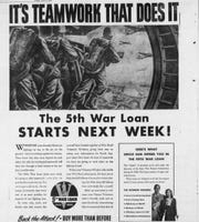 "According to this advertisement, ""It's teamwork that does it,"" when it comes to investing in bonds for the war. ""Back the Attack! Buy more than before,"" it urged."
