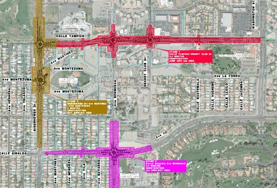 This map shows the location of roundabouts being installed as part of the La Quinta Village street improvement project.