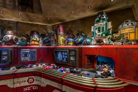 Exotic finds can be found throughout Star Wars: Galaxy's Edge at Disneyland in Anaheim, California. At Droid Depot, guests will be able to build their own personal droids from parts delivered on a conveyor belt.
