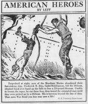 An advertisement for a war bond depicted a Cadet-Midshipman who saved a fireman.