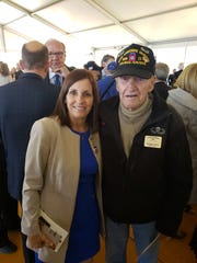 U.S. Sen. Martha McSally stands with World War II veteran George Cross of Arizona during observances Thursday June 6, 2019, of the 75th anniversary of the D-Day invasion in Normandy, France.