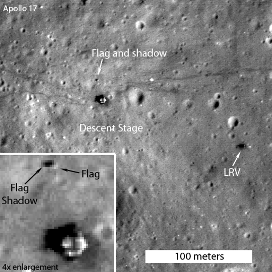 This image taken by the Lunar Reconnaissance Orbiter shows the American flag still standing at the Apollo 17 landing site.
