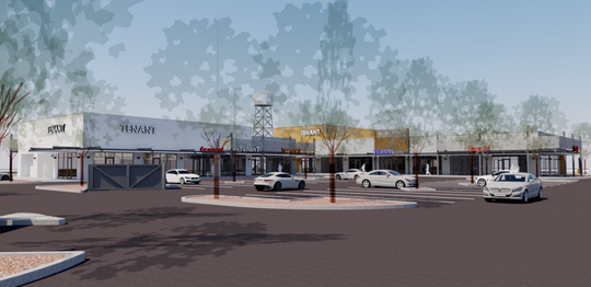 "A rendering of the upcoming south Chandler retail project, ""The Steelyard."""