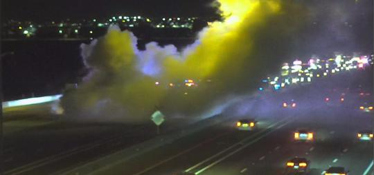 A vehicle-carrier fire shut down Interstate 10 near Litchfield Road on June 5, 2019, officials say.