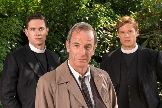 "The fourth season of ""Grantchester"" features newcomer Tom Brittney (from left), Robson Green and James Norton, who departs the program during the season."