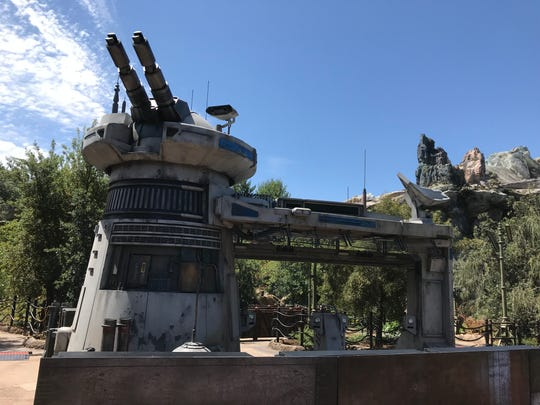 A laser turret guards the entrance to Rise of the Resistance, a highly anticipated attraction due to open this year at Star Wars: Galaxy's Edge at Disneyland.