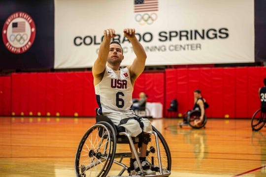 Cedar Crest grad Ryan Neiswender lines up a shot during a recent Team USA workout. Neiswender was named to the 2019 Toyota Team USA Men's National Wheelchair Basketball team roster last week.
