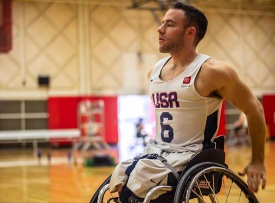 Team USA wheelchair basketball national member Ryan Neiswender warms up at the Olympic Training Center during the Toyota Team USA Men's Selection Camp in Colorado Springs, Colo., Friday, January 15, 2019.