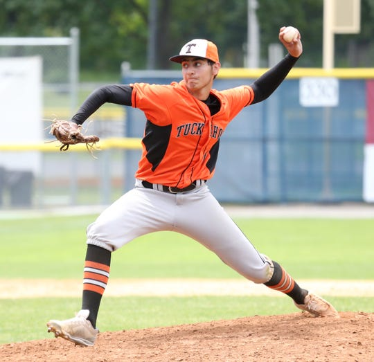Tuckahoe'sMatthew Mondrone on the mound during Thursday's Class C regional semifinal versus Pine Plains in Saugerties on June 6, 2019.
